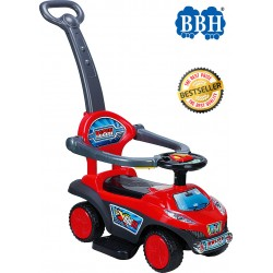 BBH Q03-3 3 in 1 Walker-Riding-Stroller Ride on Car (Red)