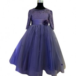 Wonder Tots Party Dress 4-12y Long (Purple)