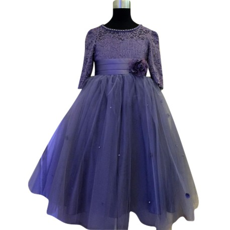 Wonder Tots - Party Dress 4-12y Long (Purple)